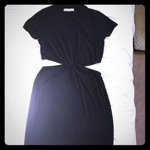 Abercrombie & Fitch black cutout midi dress